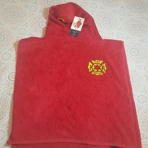 Land's End Red Fireman Terry Cover-up Kid Toddler